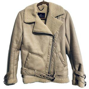 AE American Eagle Faux Suede Sherpa Belted Coat XS